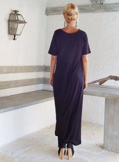 Black Maxi Dress / Black Kaftan / Asymmetric by SynthiaCouture
