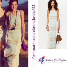 """FREE PEOPLE Maxi Dress Crochet Two Tone Sleeveless Size XS/S.  Perfect condition. $288 Retail + Tax.  Stunning crochet maxi with toned detailing. Cotton, stretchy & unlined. By Eternal Sunshine Creations for Free People   Measurements for XS/S:  Length: 58"""" Bust: 36""""  Waist: 31  ❗️ Please - no trades, PP, holds, or Modeling.    Bundle 2+ items for a 20% discount!    Stop by my closet for even more items from this brand!  ✔️ Items are priced to sell, however reasonable offers will be…"""