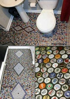 How about a bottlecap bathroom floor? [Living Off The Grid]
