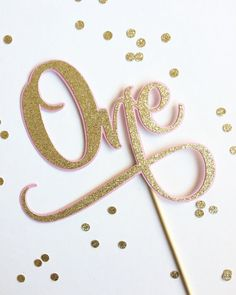 First Birthday One Cake Topper  Pink and Gold by TopperAndTwine