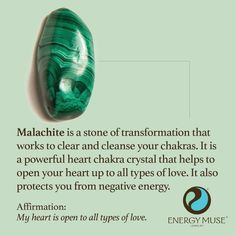 Malachite is a stone of transformation that works to clear and cleanse your chakras. It is a powerful heart chakra crystal that helps to open your heart to all types of love. It also protects you from negative energy. should learn to like this stone.
