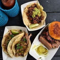 """Tacos with smoked carnitas and a brisket sandwich """"for dessert."""""""