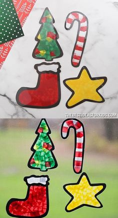Christmas Suncatchers - Make your own tissue paper Christmas Suncatchers! Click through to the post to get the free printable templates! Preschool Christmas Crafts, Christmas Arts And Crafts, Cheap Christmas Gifts, Homemade Christmas Decorations, Kindergarten Crafts, Fun Crafts For Kids, Craft Activities For Kids, Christmas Activities, Xmas Crafts