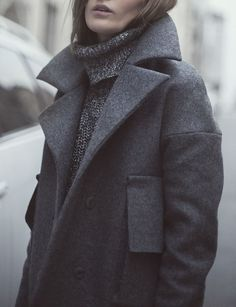 grey wool coat grey turtle neck