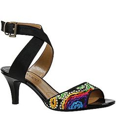 J. Renee Soncino Fabric Embroidered Ankle Strap Dress Sandals
