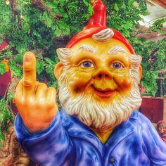Nothing says it like a giant plastic gnome. #gnome #gnomesofinstagram #gnomelife #gnomes #barcelona #eas2016 #fuckyou