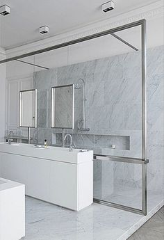 Sleek glass divider, Trocadero apartment in Paris by DLM Damien Langlois-Meurinne