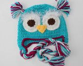 OWL HAT, turquoise , size 2-6 years - wool - ready to ship