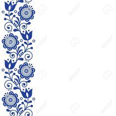 Illustration of Scandinavian greeting card design, folk art retro vector design, ornament with flowers in navy blue - vertical stripe or border. vector art, clipart and stock vectors. Scandinavian Embroidery, Scandinavian Folk Art, Flower Design Vector, Vector Design, Folk Art Flowers, Flower Art, Vintage Typography, Vintage Logos, Retro Logos