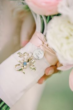 Looking for something blue to tick off your list of wedding traditions? Here are some beautiful and inspiring ways to work it in your wedding ensemble! Bling Bouquet, Wedding Brooch Bouquets, Wedding Beauty, Dream Wedding, Wedding Day, Wedding Bells, Wedding Reception, Wedding Flower Arrangements, Wedding Flowers