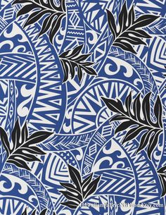 Tribal fabric: Tapa patterns and tropical ferns. By HawaiianFabricNBYond.Etsy.com
