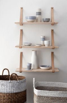 Holly's House - Wood Shelf with Leather Strap