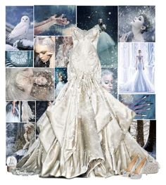 """""""Princess of snow and ice"""" by kerry6590 ❤ liked on Polyvore featuring John Galliano, ANNA, Allstate Floral, Oscar de la Renta, Badgley Mischka and Kate Marie"""
