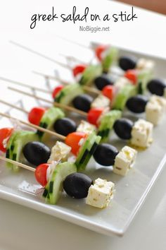 Happy Friday! New recipe this week: Greek Salad on a stick #Tadaaz