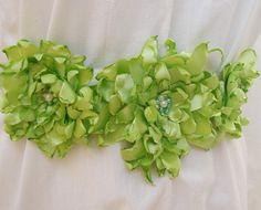 Lime green wedding sash belt with fabric by flowersofparadise, $40.00