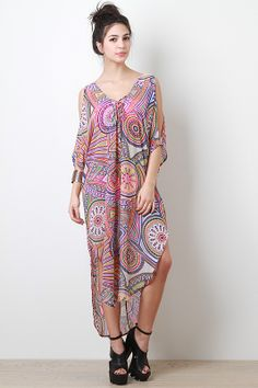 Colorful sheer coverups will give you a go to boho style on the beach. We like this asymmetrical cover up with its fab geo pattern.