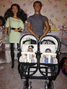 Custom Black & White Bashette Ironworks Side By Side Twin Stroller