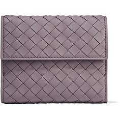 Bottega Veneta Intrecciato leather wallet ($450) ❤ liked on Polyvore featuring bags, wallets, leather tote bags, leather coin wallet, leather credit card holder wallet, handbags totes and genuine leather wallet