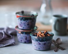 Ingredients [2/3] cup whole natural almonds, divided 1[1/2] cups nonfat or 1% milk 1 cup nonfat or low-fat plain yogurt (not Greek-style) [1/3] cup all-fruit blueberry jam 1 teaspoon pure vanilla extract 1 cup old-fashioned rolled oats 2 tablespoons chia seeds 2 cups blueberries, divided Directions Toast the almonds in a dry skillet over medium-high …