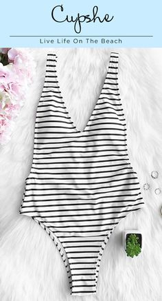 1e10e4a361 Cupshe Happiness is Truth Plunging One-piece Swimsuit can hit the hot  season with classic stripe printing.