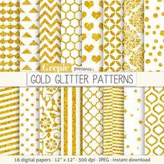 Gold glitter digital paper: GOLD GLITTER PATTERNS