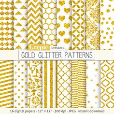Gold glitter digital paper: GOLD GLITTER PATTERNS by Grepic