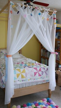 Canopy Curtains - May Arts Wholesale Ribbon Company Home Bedroom, Kids Bedroom, Ribbon Curtain, Diy Teepee, Canopy Curtains, Kid Beds, New Room, Decor Crafts, Diy For Kids