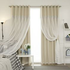 Aurora Home Lace Overlay Propose Blackout Grommet-top Curtain Panel Pair | Overstock.com Shopping - The Best Deals on Curtains