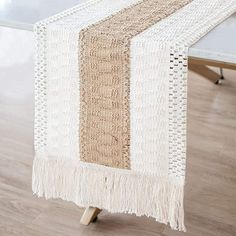 farmhouse table runner measures 12in x 72in (including the fringe), perfect for your home bohemian coffee dining table decor. This crochet jute table runner will give your table a new rustic look. Farmhouse Tabletop, Modern Farmhouse Decor, Rustic Decor, Farmhouse Style, Vintage Farmhouse, Farmhouse Table Runners, Burlap Table Runners, Dining Table, Modern Table Runners