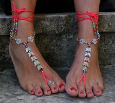 NEON Pink BUTTERFLY barfuss Sandalen Fuß Schmuck von PanoParaTanto