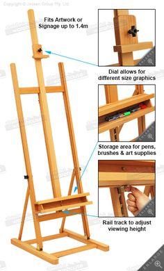 Artist easel Diy Easel, Wooden Easel, Wood Projects, Woodworking Projects, Building Painting, Art Studio Organization, Art Storage, Wood Design, Art Studios