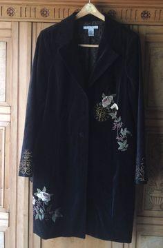 CAbi~LUXURIOUS BLACK VELVET EMBROIDERED ANTOINETTE COAT~16 #CAbi #BasicCoat #antoinette