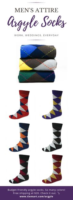 You probably know argyle is a classic pattern for men's dress socks. It's a really popular option for wedding socks, too. But don't confine argyle to the office or formal wear. Argyle socks look great with your favorite pair of jeans, too. Matching your argyle socks is easy! When you're wearing a tie, match a color in the sock to your tie. To wear argyle casually, match a color in the sock to your shirt. #argyle #argylesocks #socks #men #mensfashion