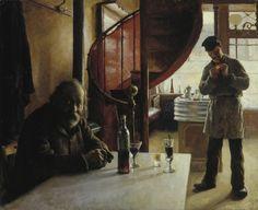 Ranskalainen viinikapakka French winebar. Eero Järnefelt (1888). Oil, canvas, 61x74 cm (1257×1024)