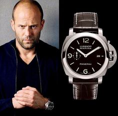 Jason Statham with his Panerai Luminor Marina-( Cool Watches, Watches For Men, Panerai Luminor Marina, Best Watch Brands, Panerai Watches, Popular Watches, Jason Statham, Luxury Watches, Mens Fashion