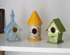 Make Road Map Bird Houses - very cute
