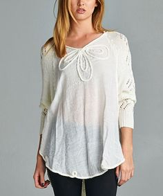Love this Ivory Embellished-Neck Sweater by 42POPS on #zulily! #zulilyfinds