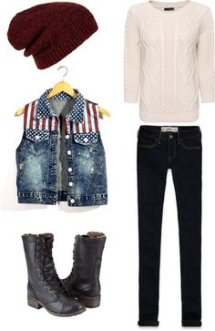 Off white sweater and American flag denim vest with black jeans