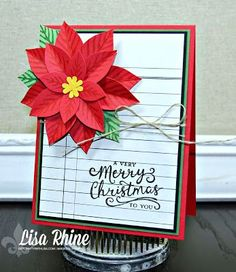 Get Crafty with Lisa:  Merry Christmas Poinsettia.  This card features Stampin' Up!'s Reason for the Season Stamp Set and Festive Flower Builder Punch, by Lisa Rhine, www.getcraftywithlisa.com
