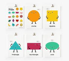 Cute Geometric Shapes Flash Cards Printable PDF