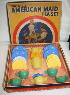 boxed Akro Agate Vintage Doll Dishes - these are the doll dishes my mother in law had ;-)