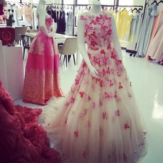 Petal appliqué gown on display in the showroom today! Happy Friday!