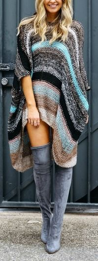 Poncho + OTK boots with cute colored leggings Fresh Outfits, Cute Outfits, Winter Outfits, Casual Outfits, Boho Fashion, Autumn Fashion, Womens Fashion, Runway Fashion, Fashion Jewelry