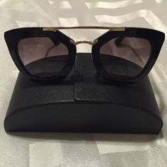 Black acetate frames with gold accents. Originally purchased from Nordstrom. In good condition, no chips or scratches. Prada Cinema Sunglasses, Dior Sunglasses, Stylish Sunglasses, Sunglasses Sale, Sunglasses Accessories, Sunnies, Sunglasses Women, Fashion Accessories, Four Eyes