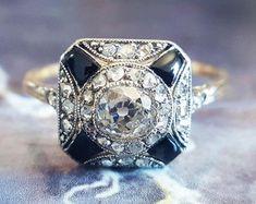 Ideas Art Deco Engagement Ring Onyx Vintage For 2019 Onyx Engagement Ring, Victorian Engagement Rings, Designer Engagement Rings, Cushion Cut Diamond Ring, Ring Verlobung, Onyx Ring, Vintage Rings, Art Deco, Fashion Rings