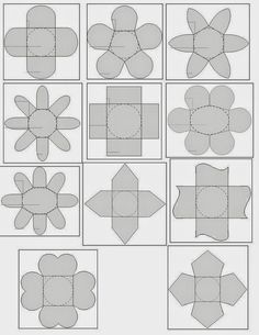 Free Templates for Party Boxes, Gift Boxes or Party Souvenirs.