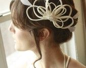 Bridal Feather Fascinator Cocktail Hat.  Wedding, bride, bridesmaid