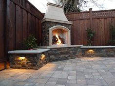 Outdoor: Minimalist White Bricks Outdoor Fireplace Near The Wooden Fence Paired With Plants And Bricks Floor Tile Design: Fantastic Inspirat...