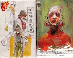 3 Sketchbook drawings by Reeo Zerkos Sketchbook Drawings, Sketchbook Pages, Art Drawings, Sketches, Drawing Faces, Moleskine Sketchbook, Art Inspo, Kunst Inspo, Art And Illustration