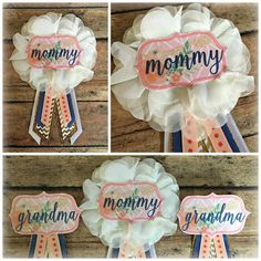 Coral, Navy & Gold Baby Shower Set for Mommy and Grandmas : $18